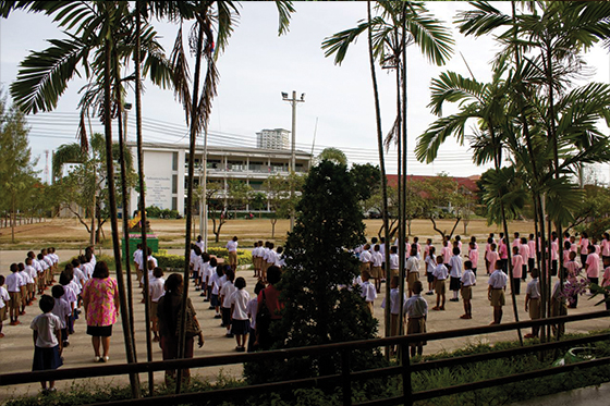 Students singing the King's Song at a school in Thailand