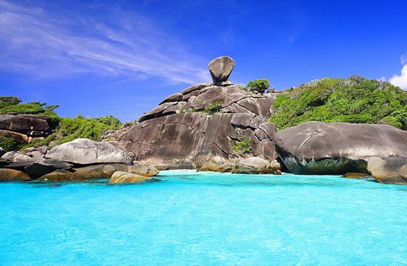 Scuba diving in the Similan Islands in Thailand