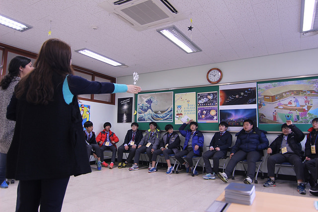 English teacher teaching at an English camp in South Korea