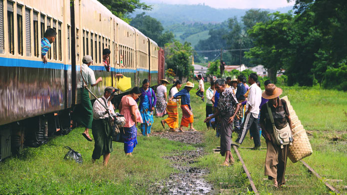 Catch a train around Myanmar and see rural life and culture. This photo was taken as Hsipaw.