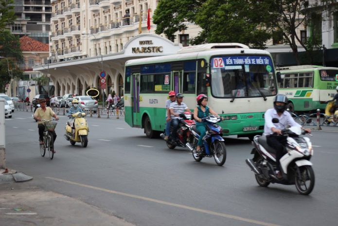 Driving in Ho Chi Minh, Vietnam.